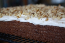 Close up of the gorgeous Cream Cheese Frosting and crushed walnuts.